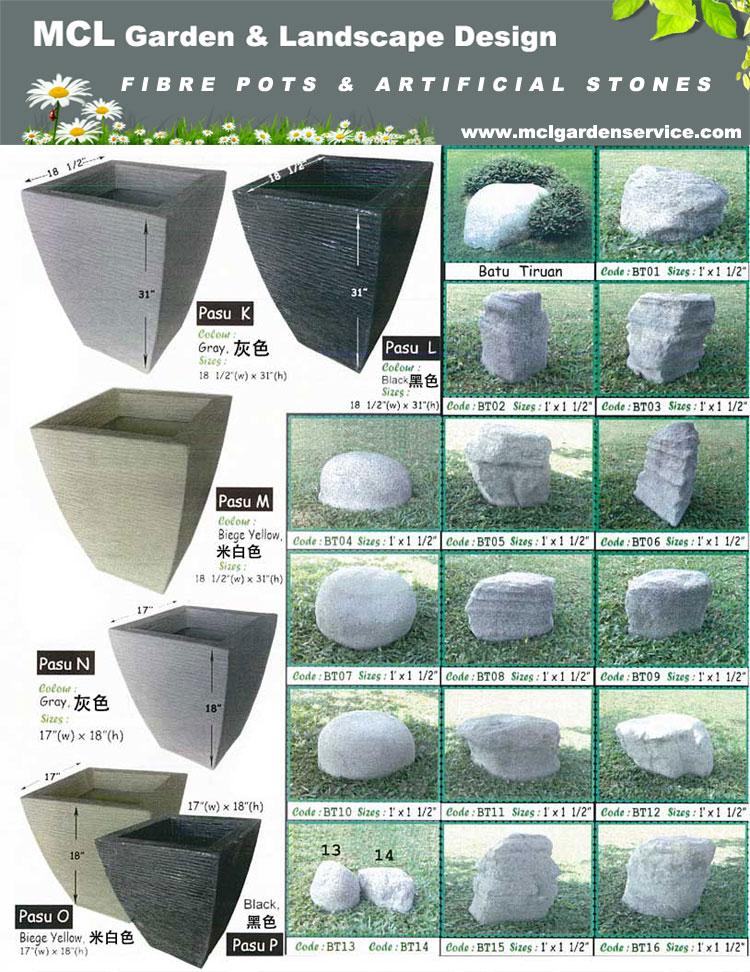 Fibre pot artificial stone welcome to mcl garden for Garden pond design malaysia